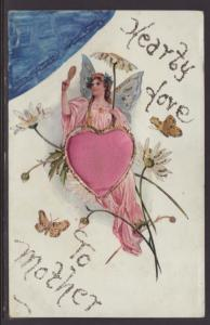 Hearty Love to Mother,Angel,Heart Postcard