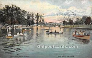 Old Vintage Rowing Postcard Post Card Boating on the Lakes Postal Used Unknown