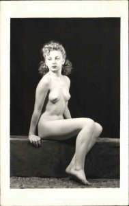 Nude Woman Sitting Pose c1930s-40s Real Photo Postcard