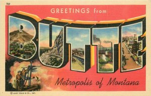 Butte Montana Large letters Multi View Silver Bow Teich #782 1940s Postcard 5817