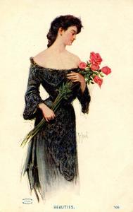 Women - Beauties  Lady & Roses    Artist: St. John
