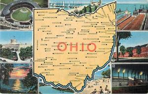 Ohio State Map Postcard OH, Linen