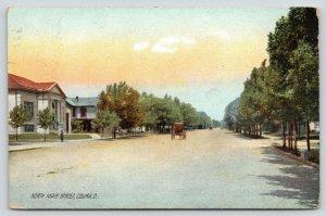 Celina Ohio~North Main Street Homes~Horse & Buggy~Man on Corner~1909 Rotograph