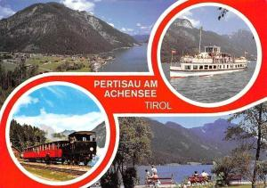 Pertisau am Achensee Tirol, Train Bench Lake Boat Bateau Lac Schiff Panorama