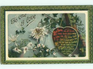 Pre-Linen valentine THE ONE I LOVE - HEART HANGS FROM CHAIN WITH FLOWERS J1053