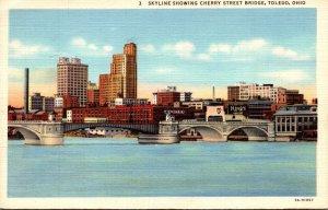 Ohio Toledo Skyline Showing Cherry Street Bridge 1943 Curteich