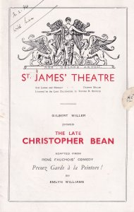 The Late Christopher Bean St James Theatre Comedy Old Programme