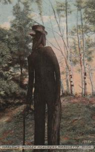 Harlow's Wooden Man Monument - Statue - Marquette MI, Michigan - pm 1915 - DB