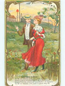 Pre-Linen foreign PRETTY FRENCH WOMAN WITH FLOWER BOUQUET WALKS WITH MAN J0459