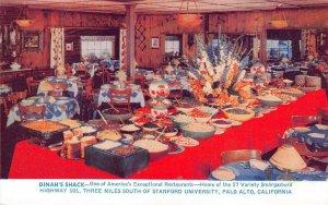 DINAH'S SHACK Southern Fried Chicken Restaurant Palo Alto, CA c1950s Postcard