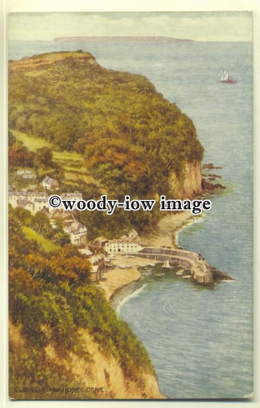 tp0546 - Devon - View down onto Clovelly & Coastline from Hobby Drive - postcard