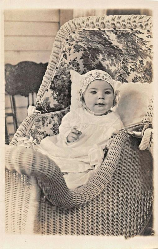 BABY~WILSON J KING~ORNATE WICKER BASSINET-AGE 7 MONTHS-REAL PHOTO POSTCARD 1919