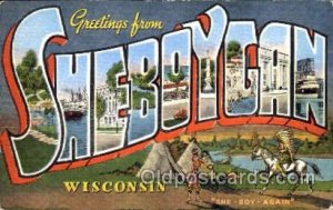 Greetings From Sheboygan, Wisconsin, USA Large Letter Town Towns Postcard Pos...