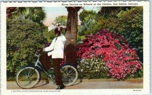 1940s Sea Island, Georgia Postcard CLOISTER HOTEL Black Waiter on Bicycle Linen