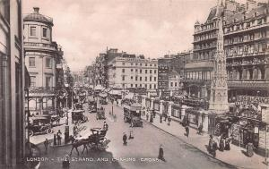 The Strand and Charing Cross, London, England, early sepia postcard, unused