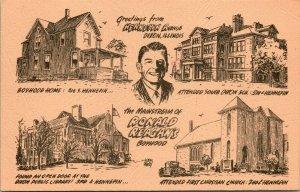 Vtg Postcard Dixon IL Greetiing's From Ronald Reagan's Boyhood Hennepin Avenue