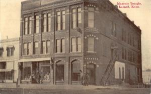Larned Kansas~Masonic Temple~Grocery~Feed Store~Steps to Second Floor~1908 PC