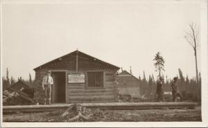 Goldfield Ontario Man by Building EA Sutton Goldfield Hotel RPPC Postcard E61