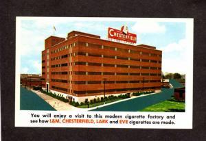 NC Chesterfield Lark Eve Cigarettes Durham North Carolina Postcard Smoking Plant