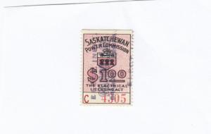 SASKATCHEWAN $1 Power Commision Stamp