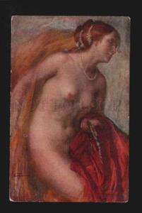 074672 NUDE Lady BELLE by CESARE FERRO old Italian ART NOUVEAU