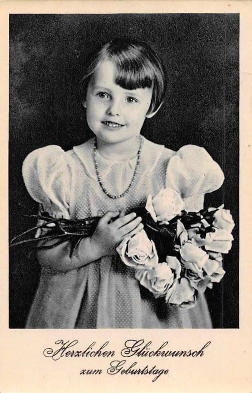 Herzlichen Glueckwunsch zum Geburtstage! Birthday Girl Roses, Filette 1942