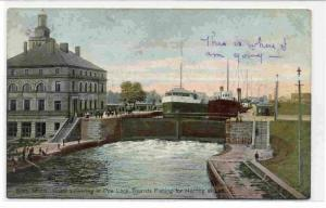 Boats Lowering in Poe Lock, Tourists Fishing for Herring at Left, Soo, Michig...