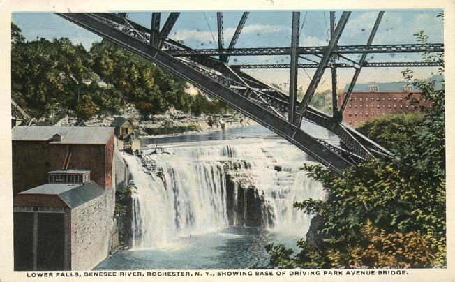 Lower Falls from Base of Driving Park Avenue Bridge - Rochester, New York - WB
