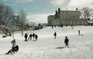 Knaresborough House Bobsleigh Children Playing in Winter Snow Yorkshire Postcard