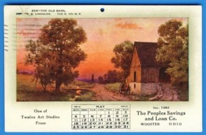 WOOSTER, OHIO 1913 - May 1913 Calendar for The Peoples Savings & Loan Co.