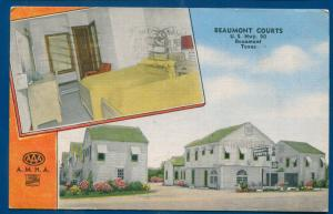 Beaumont Texas tx Courts US Highway Hwy 90 Linen Postcard roadside