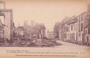 France Marne Reims Eugene Desteuque Street After Bombardement By Germans