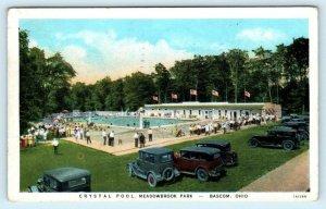 BASCOM, Ohio OH ~ Meadowbrook Park CRYSTAL SWIMMING POOL 1938 Postcard