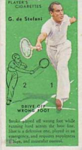 Player Vintage Cigarette Card Tennis Series No. 29 Backhand Drive G De Stefan...