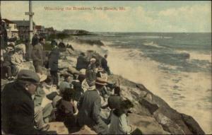 York Beach ME People Watching Waves c1910 Postcard