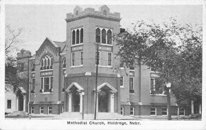 Holdrege Nebraska Methodist Church Street View Antique Postcard K14983