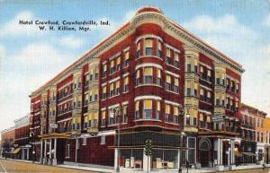 Crawfordville Indiana Hotel Street View Antique Postcard K105984