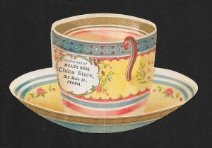 VICTORIAN TRADE CARD Miller Bros China Diecut Cup & Saucer