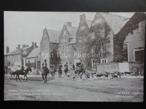 BROADWAY North Cotswold Hounds Leaving Lygon Arms Hotel c1910 Postcard J.Jacques