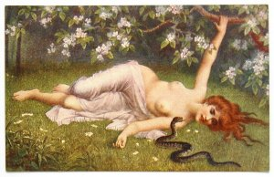 140502 SCHWENINGER Woman Playing with Snake Nude Female Art IMP RUSSIA pc 1916