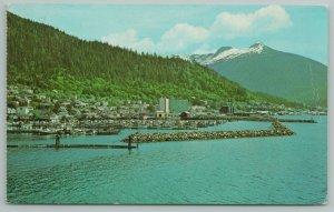 Ketchikan Alaska~View of Town Along Tongass Narrows~Vintage Postcard