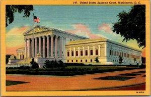 United States Supreme Court, Washington, D.C. flag flying linen postcard