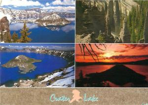 Crater Lake Blue Lake Sunset Pine Trees Volcanios Oregon  Postcard  # 7066