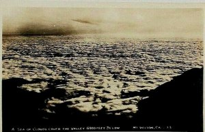 1940s RPPC Mt Wilson CA Cloud Cover Valley From Above San Gabriel Mtns Postcard