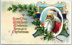 Vintage 1913 SANTA CLAUS Postcard Greet You with Best Wishes for Christmas