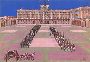 Postcard Art Madrid Armory Palace and Royal Palace Spain