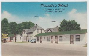 Old HOLDRIDGE Nebraska Nebr Postcard ROADSIDE Priscilla's Motel Rooms Car