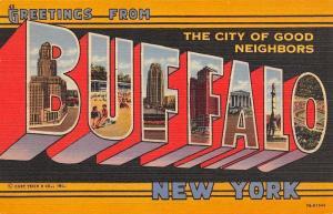 Buffalo New York~Art Deco Large Letter Linen~City of Good Neighbors~Beach~1947
