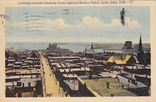 Canada Saint John Looking Towards Harbour From Admiral Beatty Hotel 1932