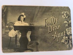 To My Dear Aunt c1908 by S. Kline Young School Girl Desk Roses Black White   A1
